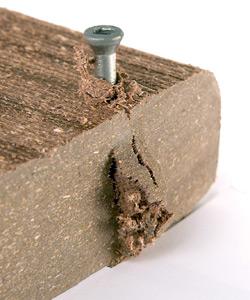 Wooden Deck splintered with screw